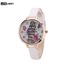 Charm Watch Women Leaning Tower of Pisa Clock Gold Plated Quartz Leather Thin Belt Gift Girls Wristwatch