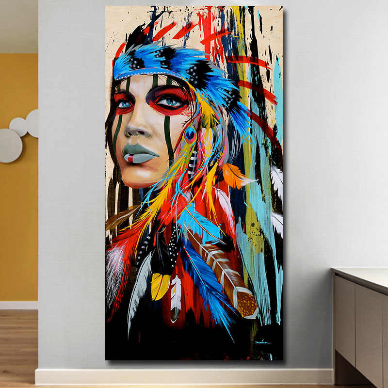 Современные настенные художественные принты цветные девушки Пернатые женщины холст живопись для гостиной домашний Декор Бесплатная доставка без рамы