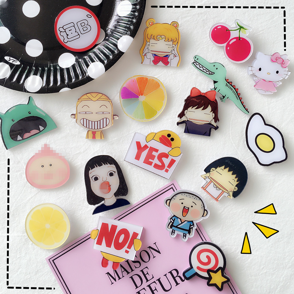 South Korea Ulzzang Cute Cartoon Acrylic Badge Badges Girl Heart Cute Japanese Harajuku Soft Sister Brooch