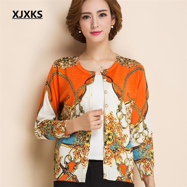 New 2017 Middle Aged Women Floral Printing Cashmere Sweater Loose