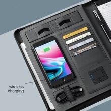 Бизнес путешествия A5 на молнии тетрадь органайзеры с 5000 мА/ч, wiereless зарядки аккумуляторной батареи внутри мобильного телефона держатель письменной доской