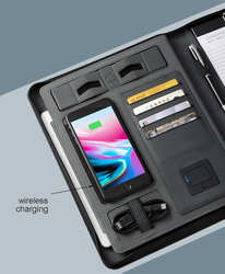 Business travel A4 zipped notebook padfolio with 5000 mAh wiereless charging power battery inside mobile bag holder writing pad