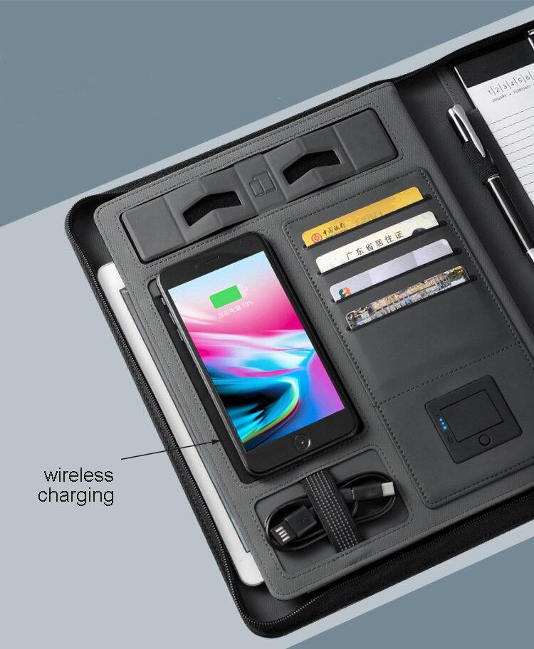 Voyage d'affaires A5 portable zippé padfolio avec 5000 mAh batterie de charge sans fil à l'intérieur du bloc-notes de support de sac mobile