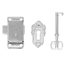Cerradura de hierro de puerta de armario empotrado clásico antiguo Vintage + llave de aleación de Zinc