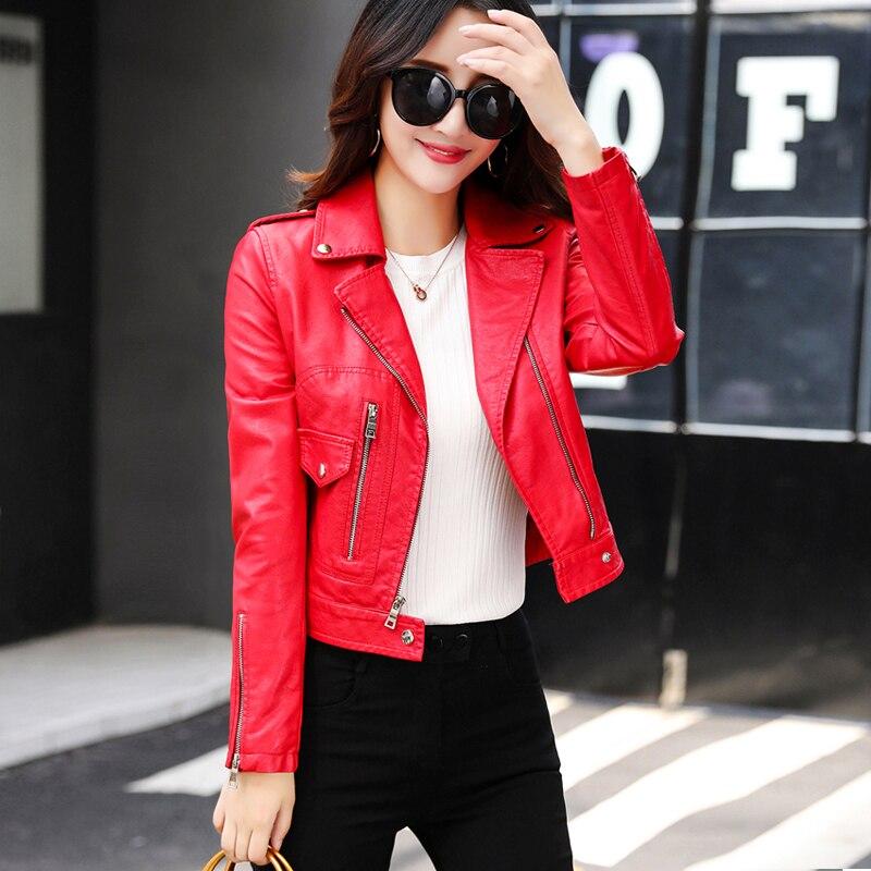 Cuero Slim Chaqueta Mujer Nueva Moda Imitación Ftlzz Rojo De RIUxR8