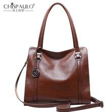 Женская сумка из натуральной кожи, новинка, модная женская сумка, одноцветная сумка на плечо из воловьей кожи, Большая вместительная сумка-мессенджер, повседневная сумка-тоут