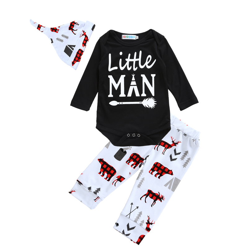 2017 New Spring Baby Clothing Sets Letter Arrow Romper+Pants+Hats Caps 3pcs Boy Girl Clothes Cartoon Animal Kids Clothing Set