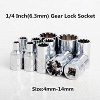 13 UNID Artes de Bloqueo Llave de Sockets Conjunto Herramienta de la Reparación Auto 1/4 Pulgadas (6.3mm) Tamaño: 4mm-14mm