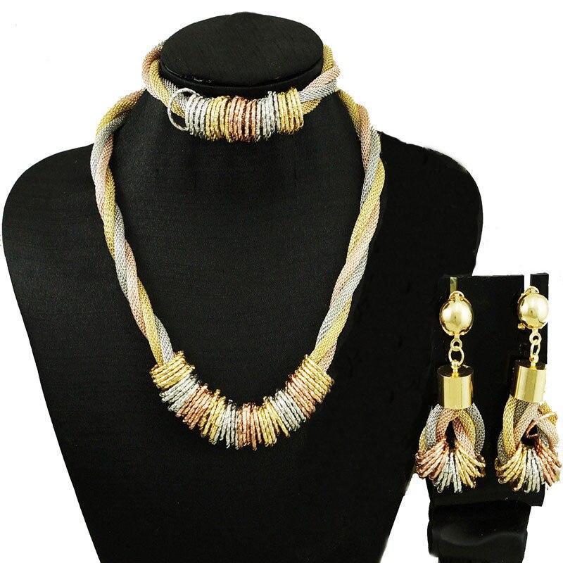 Новый Дизайн Ювелирные наборы для африканских женщин ожерелье ювелирные изделия наборы золотые комплекты большой хороший ожерелье новый д...