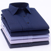 Long Sleeve Formal Men's Striped Dress Shirts Social Turn-down Collar With Pocket Regular Fit Business Male Smart Casual Shirt Dress Shirts