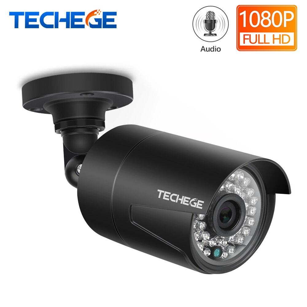Techege 2MP 48V POE ip câmera Gravação de Áudio Visão Noturna IP66 P2P ONVIF Detecção de Movimento Ao Ar Livre À Prova D' Água IP Cam para CCTV NVR