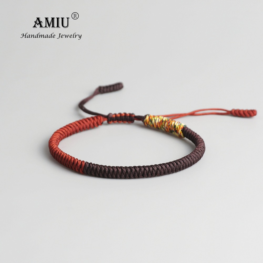 AMIU Tibetan Buddhist Lucky Charm Tibetan Bracelets & Bangles For Women Men Handmade Knots Red Rope Lucky Gift Bracelet
