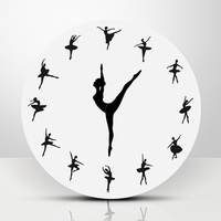 Ballet Female Word Creative 3D Clock Wall Clock Modern Design Bedroom Study Bar Silent Quartz Clock Round Clock on The Wall