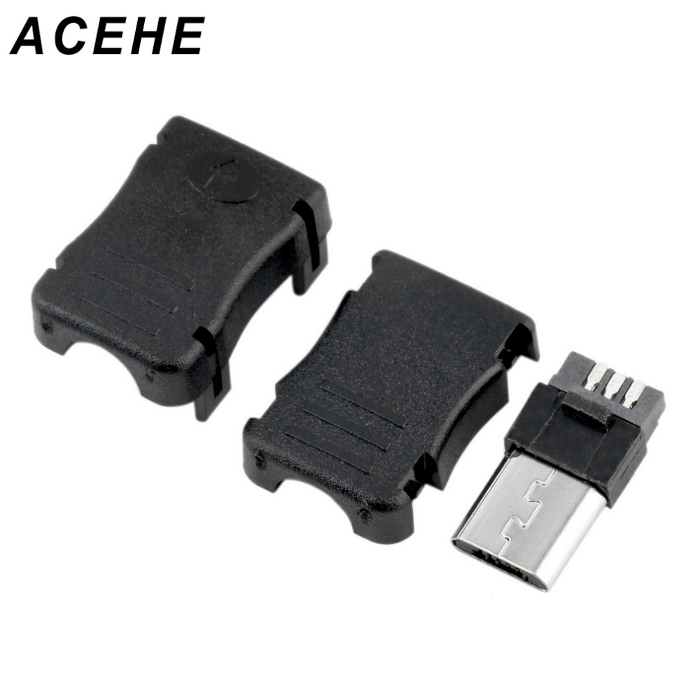 New 10pcs Micro USB Connector High Quality Micro USB T Port Male 5 Pin Plug Socket Connector Plastic Covers For DIY Top Sale micro usb charging port charger dock for lenovo yoga tablet b6000 plug connector flex cable board replacement