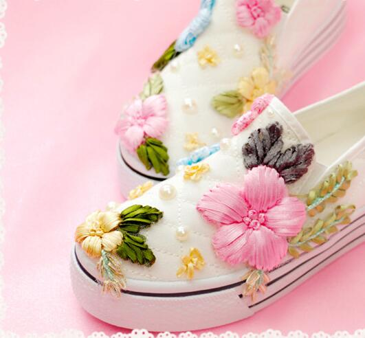 Children Loafers Hand Embroidered Pearl Women's Canvas Shoes Girls Single Shoes Korean Flowers Beading Soes Women