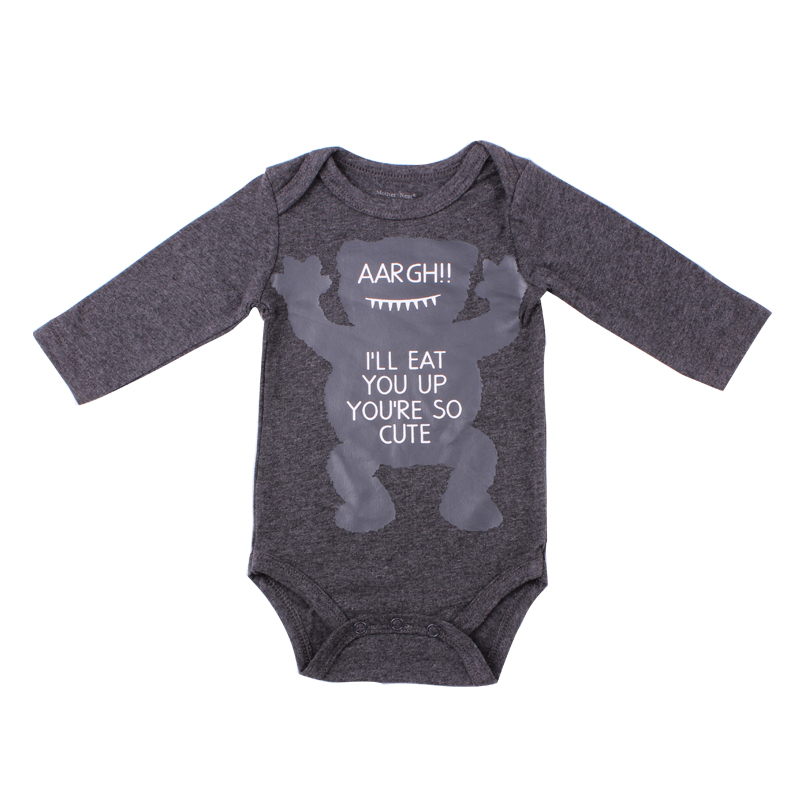 Cotton Grey Newborn Baby Boy Clothes Baby Little Monster Romper Cartoon Cheaper Long Sleeve Clothes 0-12 Months Kids