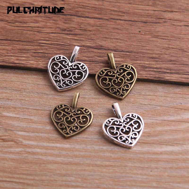 PULCHRITUDE 30PCS 15*18mm Two Color Vintage Metal Zinc Alloy Hollow Love Heart Charms Fit Jewelry Pendant Charms Makings P6638