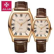 2017 Juilius Reloj Niños Reloj Reloj de Las Mujeres Reloj de Los Hombres Pareja Moda Casual Simple reloj de Cuero resistente al Agua