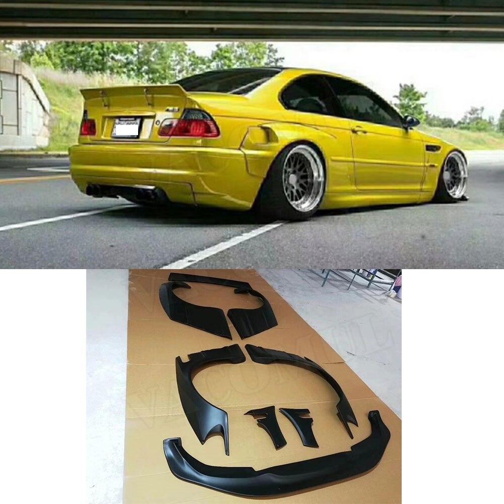 Auto Wide Body-Kit Für BMW E46 2 Tür 4 Tür FRP Faser Glas Bodykit Abdeckung Front Lip Hinten Fender stamm Spoiler Rakete Bunny Teile