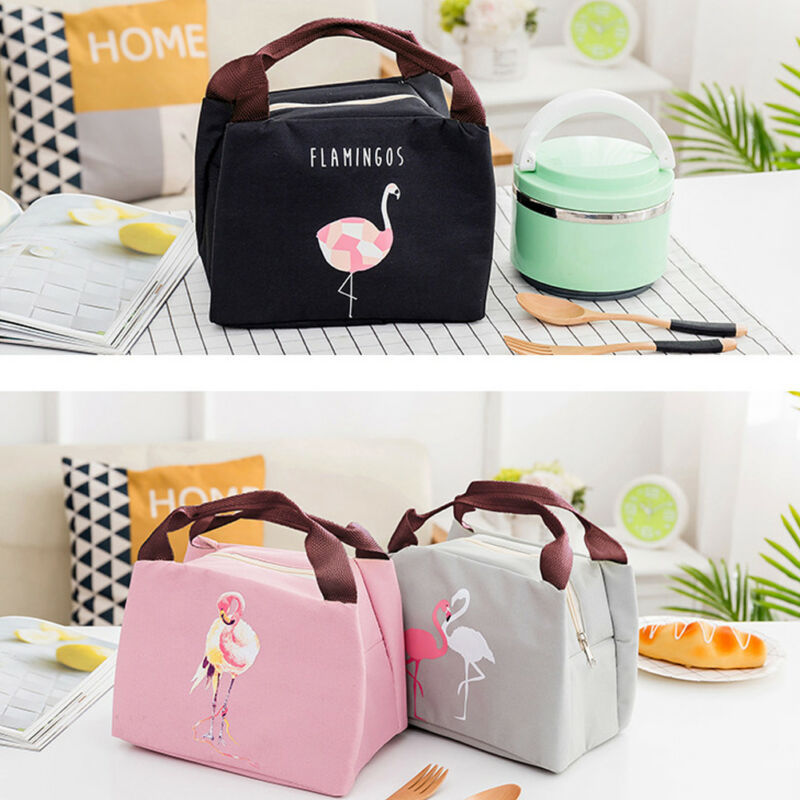 NoEnName Cute Flamingo Portable Insulated Cooler Lunch Bag Picnic Storage Box For Work Men/Women Kids School Travel Picnic