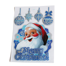 40x30cm double layers three-dimensional Merry Christmas decorations stockings stickers Xmas Santa Claus deer home decorations