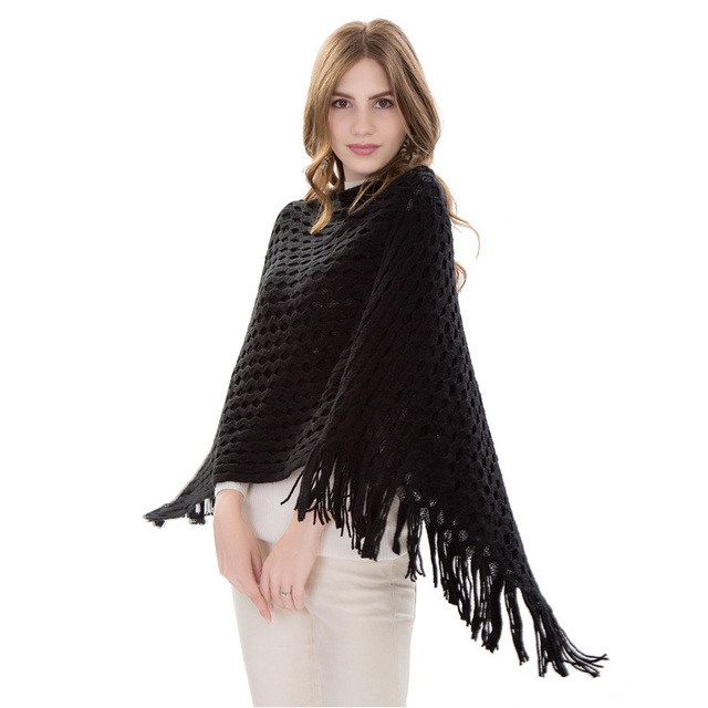73ea8c64dfd US $11.64 45% OFF|Red Black Beige Female Poncho Knitted With Tassel Sweater  Pullover Ladies Loose Shawl Fashion Bat Shirt Cape Scarves for Women-in ...
