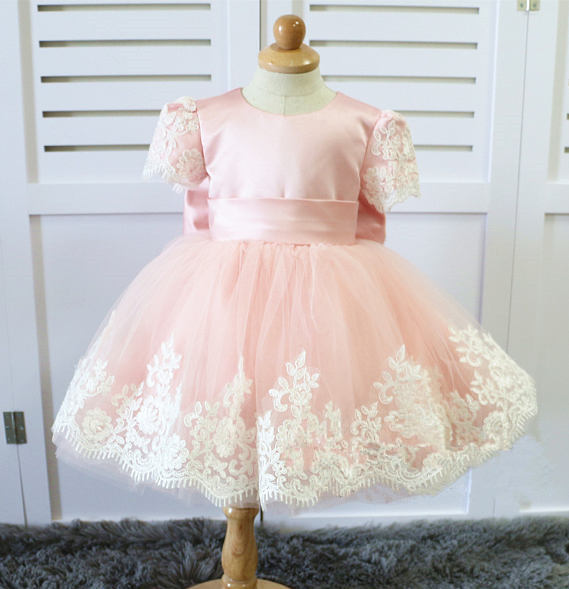Dusty pink Toddler Easter Dresses with lace appliques and bow blush pink Baby Girl birthday party frocks Infant Pageant gown цены