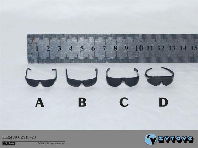 """4 개/대 1/6 scale ZY15 20 블랙 안경 선글라스 12 """"액션 피겨 완구 액세서리"""