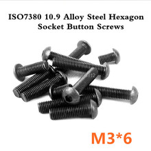1000pcs/lot ISO7380 M3*6 Grade10.9 Alloy Steel Hexagon Socket Button Screws(China (Mainland))