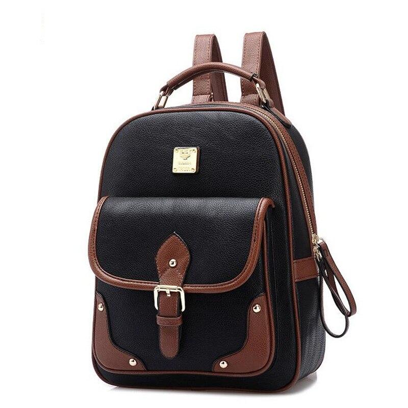 A93 High Quality Designer Brand Patchwork Women Backpacks Mochila Women s PU Leather Backpack Travel bag