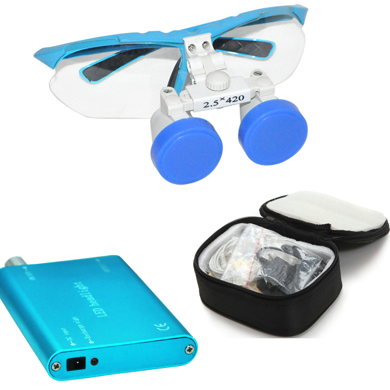 все цены на 1 set Black Dentist Dental Surgical Medical Binocular Loupes 2.5x420mm Optical Glass Loupe+LED Head Light Lamp+Carry Case онлайн