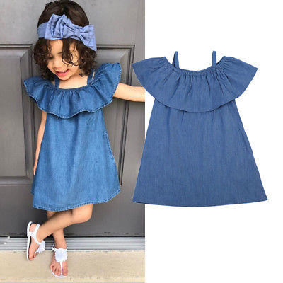 Ruffles Girl Princess Dress Denim Off Shoulder Kid Baby Girls Party Wedding Pageant Formal Dresses Clothes Summer Clothing 3 colors summer little baby girls mesh princess dress kid girl party pageant tutu dresses quiet clothing 2 11t