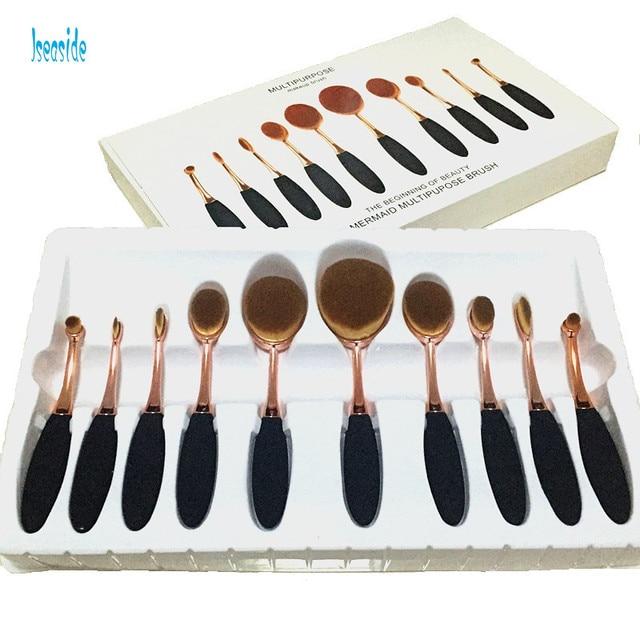 10 pcs Rose Gold Oval Maquiagem profissional Kit de Maquiagem Jogo de Escova Fundação Escova do Pó Escovas Extremamente Macio