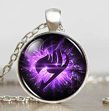 Fairy Tail Guild Marks Purple Wing Pendant Steampunk Necklace