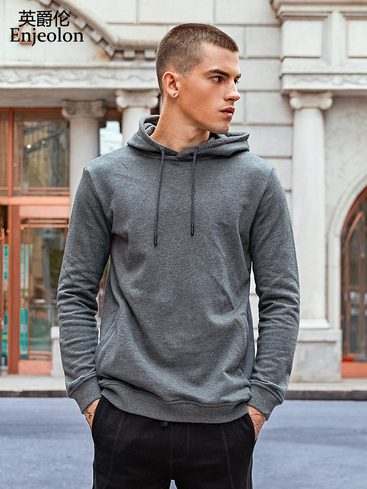 Enjeolon Model Lengthy Hoodies Sweatshirt Males Stable Informal Hoodies Cotton Sweatshirt Males High quality Pullover Sweatshirts Males Wy104