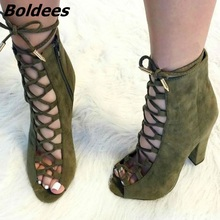 цена на Fancy Cross Strap Peep Toe Block Heel Dress Shoes Pretty Women Olive Suede Cut-out Lace Up High Heels Classy Chunky Heel Pumps