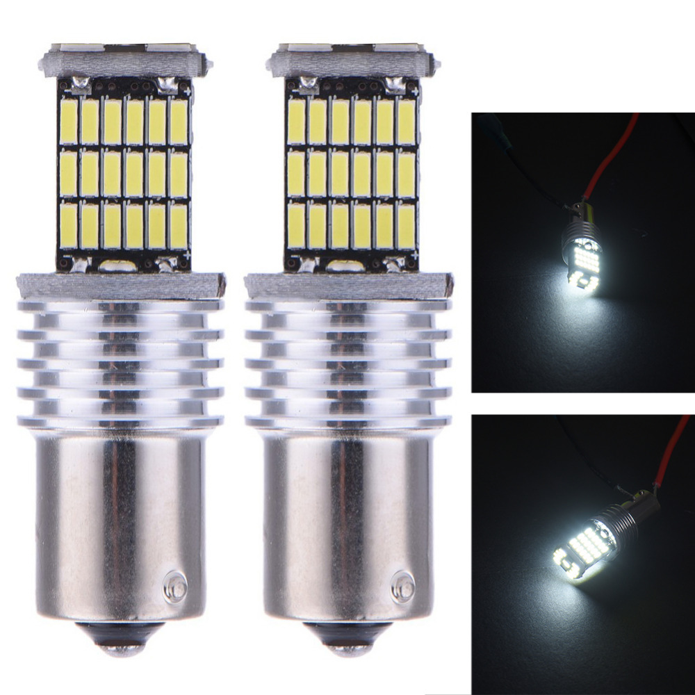 1 Pair 1156 45SMD White Car LED Brake Lights Turn signal Light Parking Bulb Reverse Lights With Resistor P21W  BA15S  DC10-14V автоакустика ural ak 47