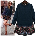 5xl plus big size women clothing 2016 spring autumn winter korean vestidos new knit floral stitch sweater dress female A2129
