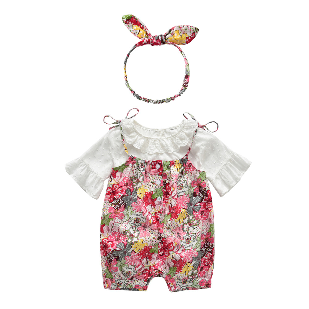 3pcs Baby Girls Sets Sweat White Blouse+Floral Overalls+Headband Outfits Toddler Girl Summer Clothes Set roupa de bebe terno