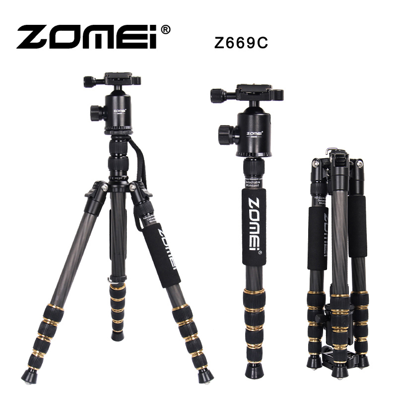 ZOMEI Z669C Carbon Fiber Professional Tripod Lightweight Travel Monopod Ball Head For DSLR Photographic Dedicate Camera Stand