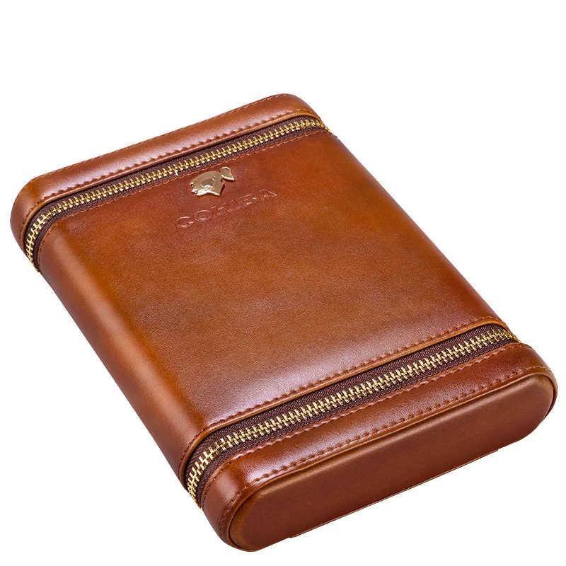 COHIBA роскошный портативный держатель для увлажнения сигар из массива кедра, кожи, чехол для сигар, увлажнитель, увлажняющий держатель для путешествий