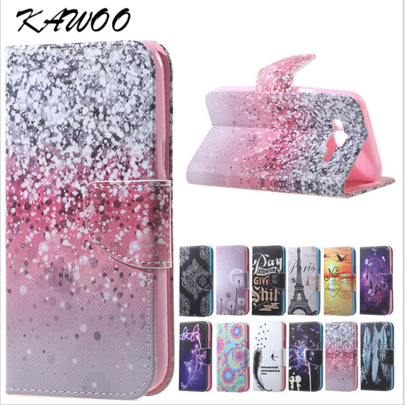 Galleria fotografica S7 S7 Edge Patterned PU Leather Flip Cover Wallet Case for Samsung Galaxy A310 A510 J5 J3 J510 A3 A5 2017 J330 J530 S8 S8 Plus