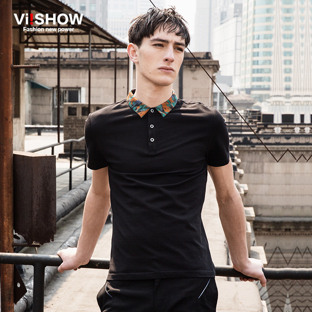 Viishow Brand Clothing Polo Men Shirt Summer Europe Print Collar Black Short Sleeve Men Fitness Polo Shirt 3XL Plus Size PD65262