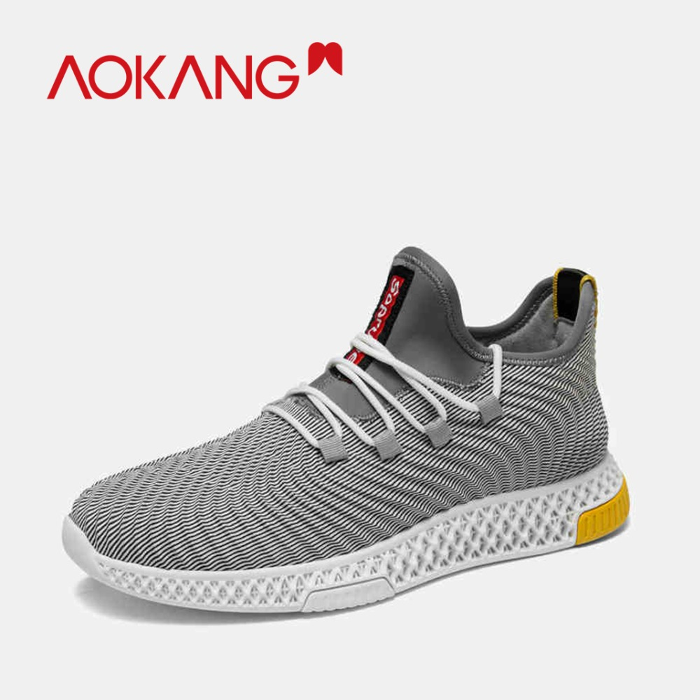AOKANG 2019 NEW Arrival spring Men sport s Shoes neoprene knit wave style lace up casual