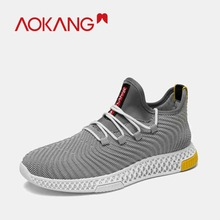 AOKANG 2019 NEW Arrival spring Men sport's Shoes neoprene knit wave style lace up casual leisure breathable men shoes