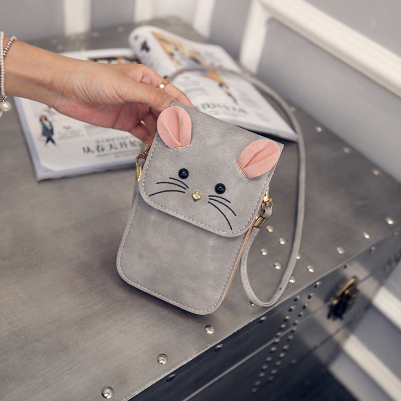 Summer new cartoon gray cute little mouse women Mobile Phone messenger bag children girl Cell Phone Pocket pink crossbody bags cute android robot cell phone strap black
