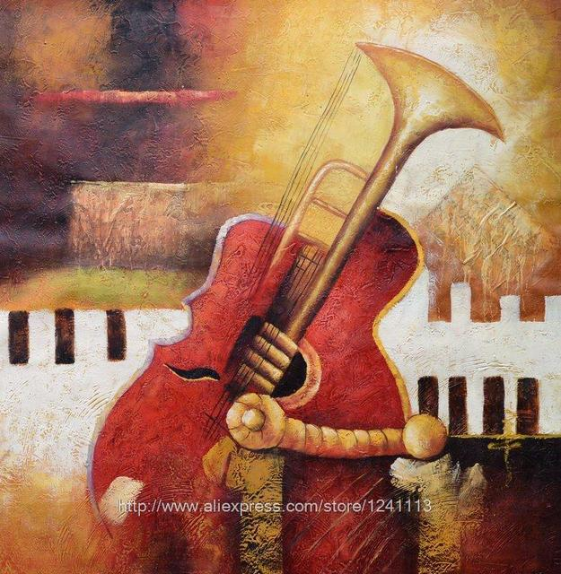 Abstract Painting Musical Instruments Canvas Painting Black Red And