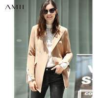 Amii Minimalist Chic Women Jacket Autumn 2018 Office Solid Belt Turn Down Collar Female Long Jacket Coat