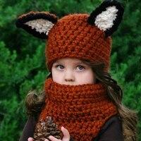 Nowe Mody Śliczne Wiewiórki Zwierząt Kapelusz z Szalikiem Szydełku czapki Ciepłe Zimowe dla Dzieci Chłopcy Dziewczęta Cartoon Hat Fotografia Prop