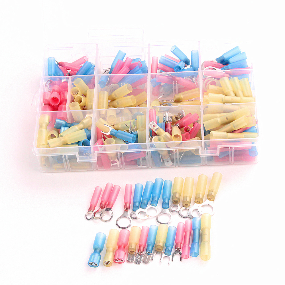 240PCS Insulated Spade  Heat Shrink Electrical Connectors Waterproof Wire Solder assorted crimp Terminals with Case 300pcs set assorted insulated electrical wire crimp terminals connector butt set with box